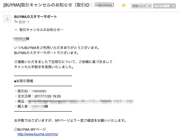BUYMAよりキャンセル手続き完了の連絡