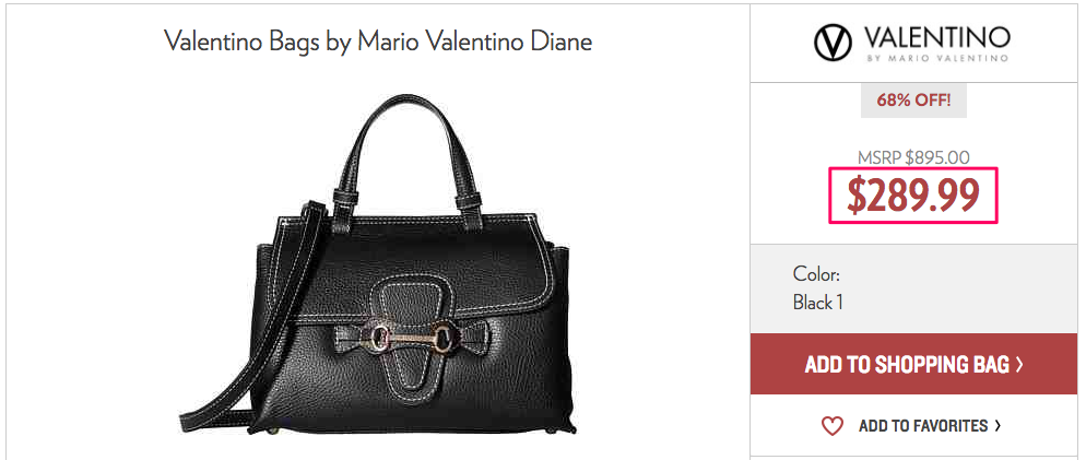 VALENTINOのバッグ関税・送料抜き販売価格