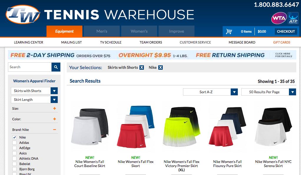 テニスウェアハウス商品一覧ページ