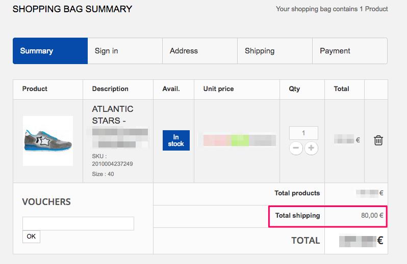海外ショップサイトの送料額
