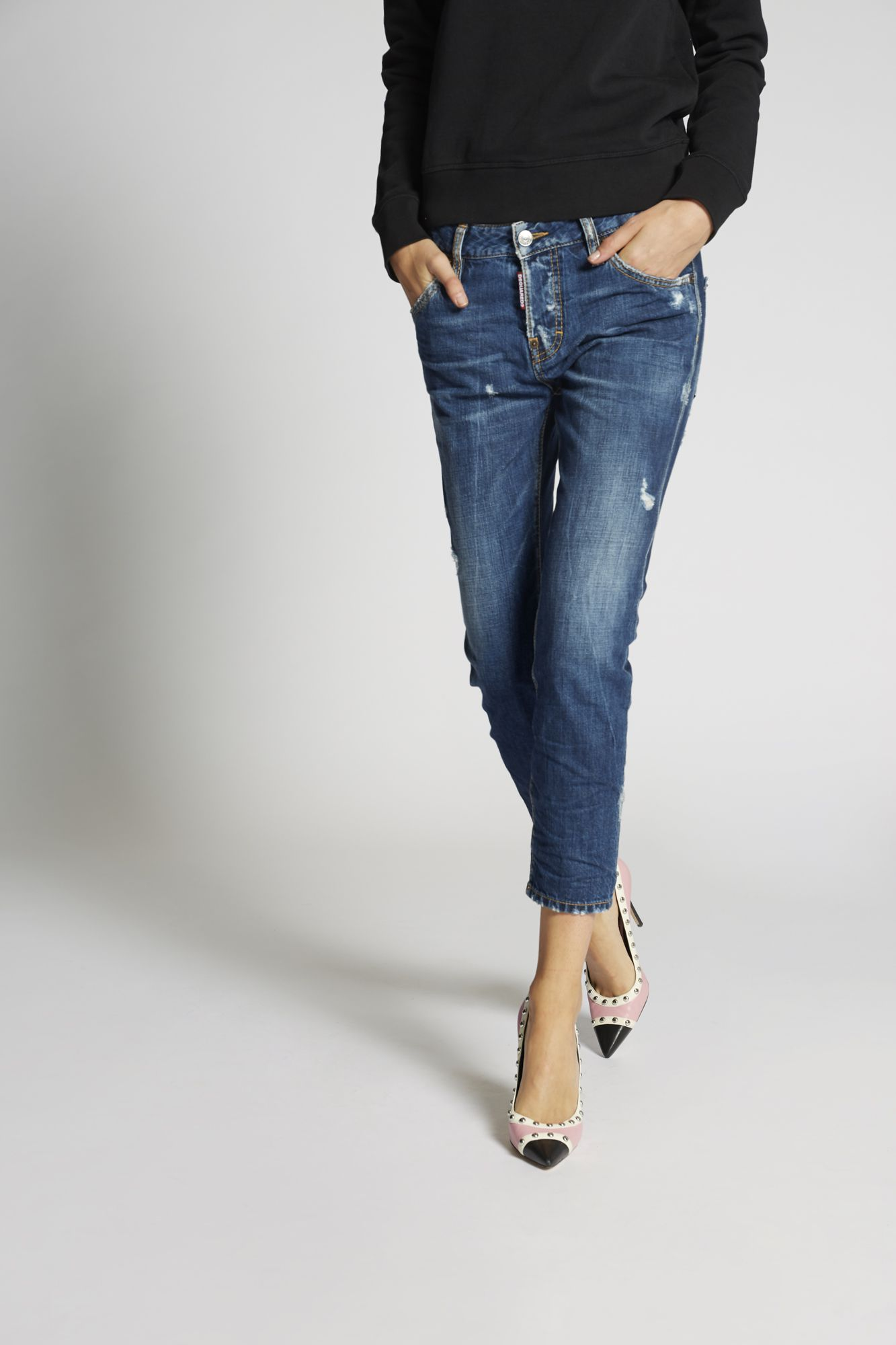 Dark Cool Girl Cropped Jeans ブルー