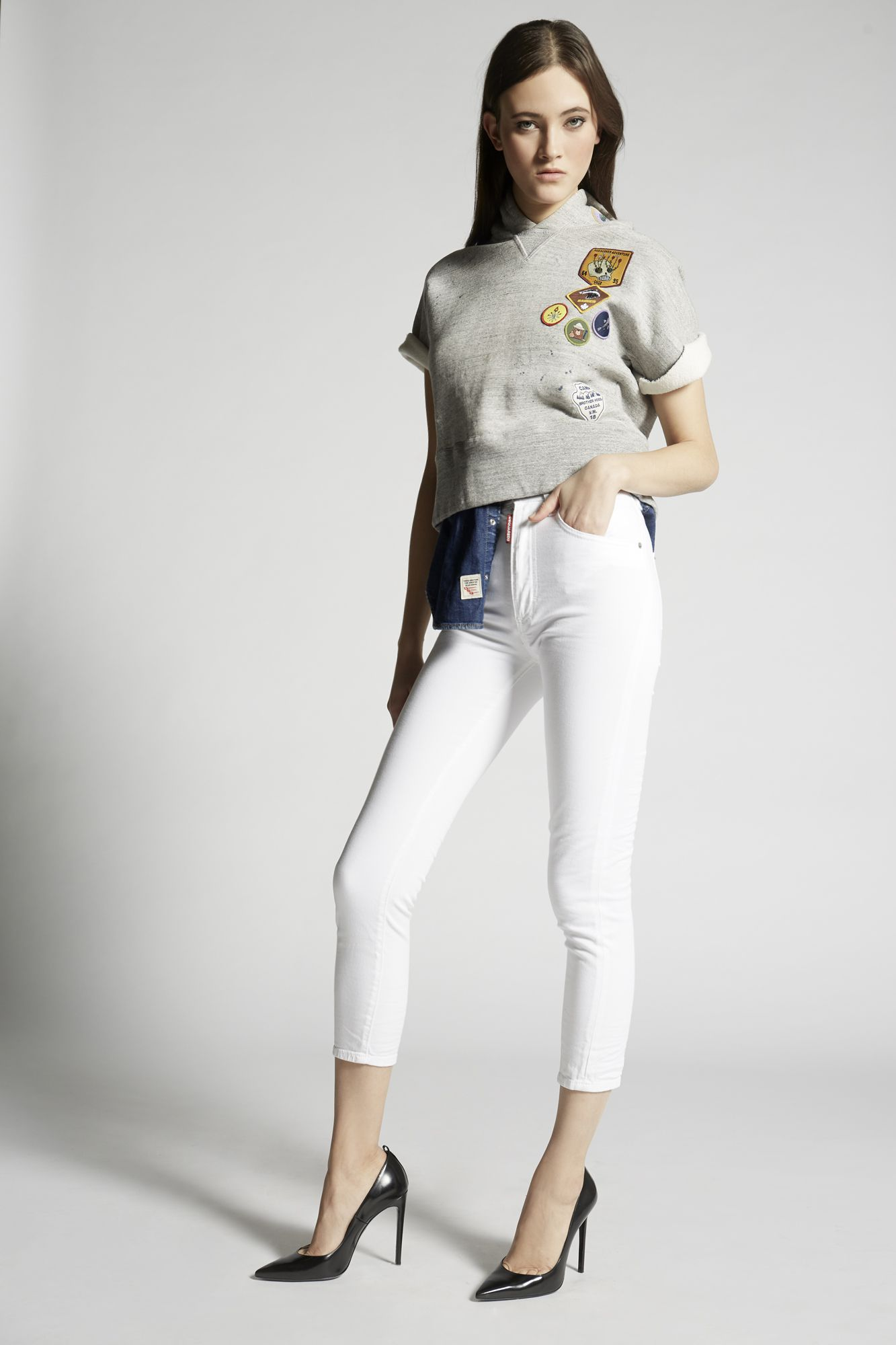 Garment Dyed High Waist Cropped Twiggy Jeans ホワイト