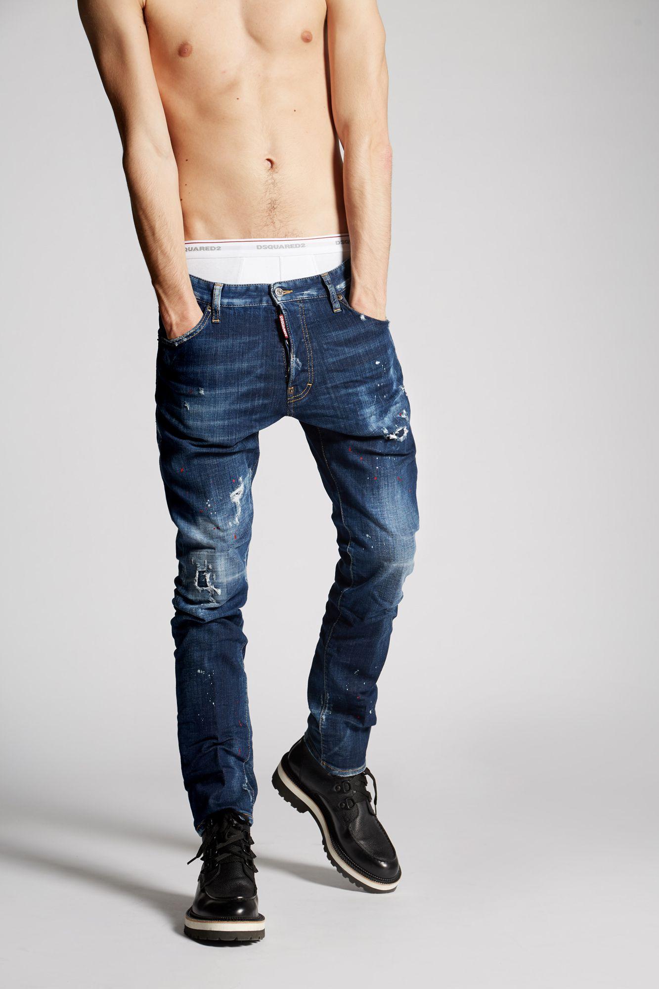 Dark Red Spray Cool Guy Jeans ブルー