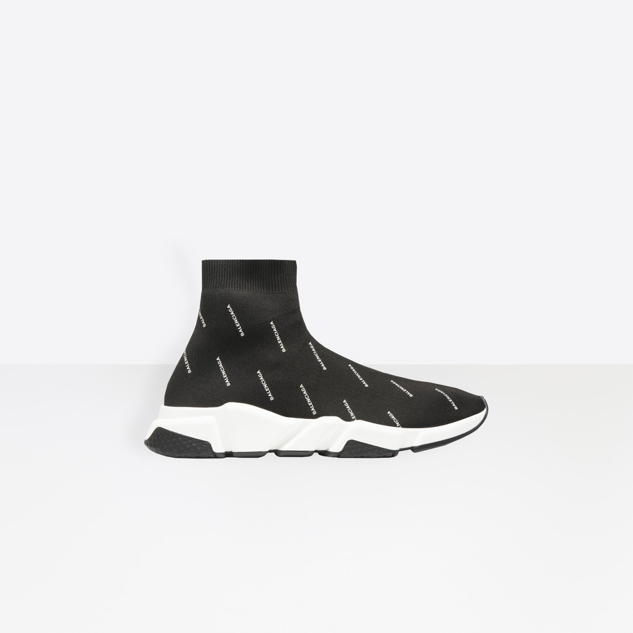 Trainers with two-tone sole and all-over Balenciaga logo