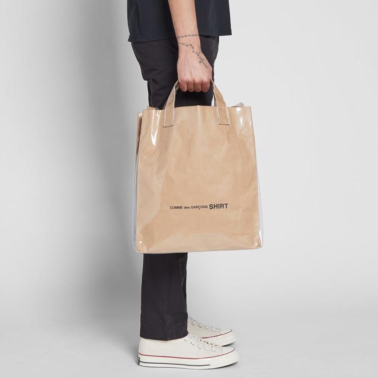 COMME DES GARCONS SHIRT PVC KRAFT PAPER MESSENGER TOTE BAG
