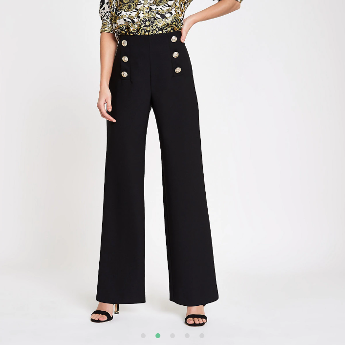 Black gold tone button wide leg