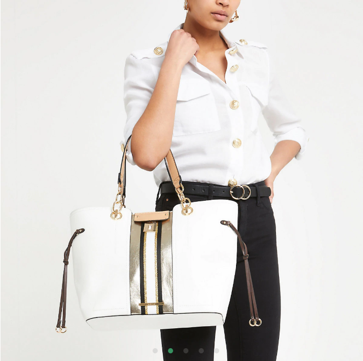 White lock front print tote bag
