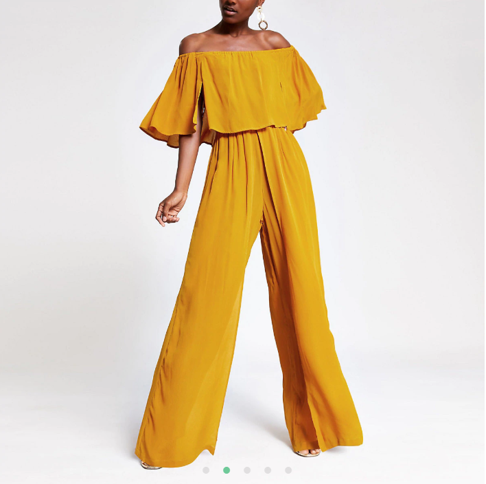 Yellow bardot wide leg jumpsuit