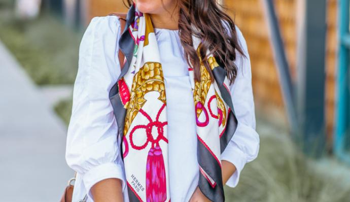エレガントな憧れブランド代表!エルメスのスカーフで華やかなコーディネート