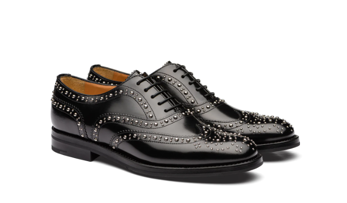 Polished Binder Oxford Brogue Stud Black