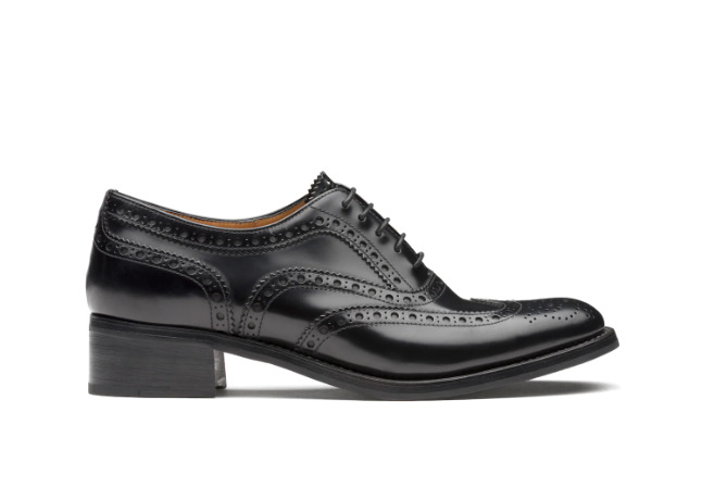 Polished Fumè Heeled Oxford Brogue Black