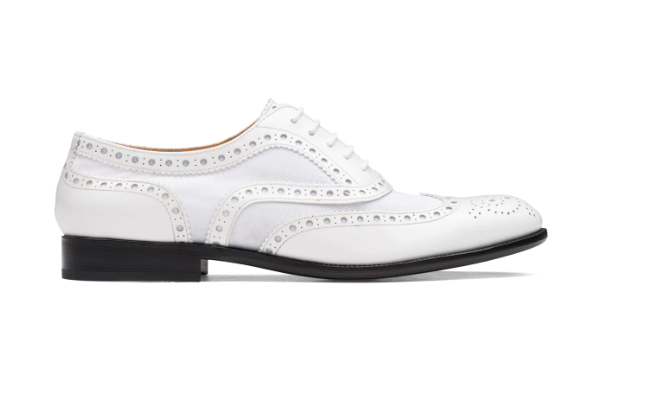 Polished Fumè & Mesh Oxford Brogue White