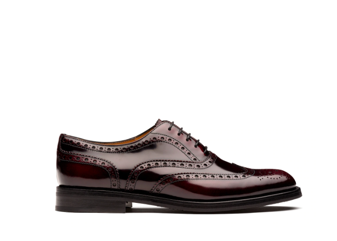 Polished Fumè Oxford Brogue Light burgundy