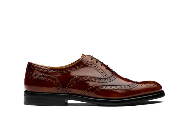 Polished Fumè Oxford Brogue Tabac